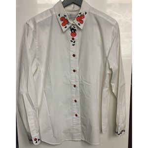 Halloween Embroidered Button Down Blouse